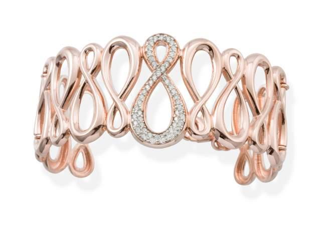 Bracelet EIGHT in rose silver de Marina Garcia Joyas en plata Bracelet in 18kt rose gold plated 925 sterling silver and white cubic zirconia. (wrist size: 18,3 cm.)