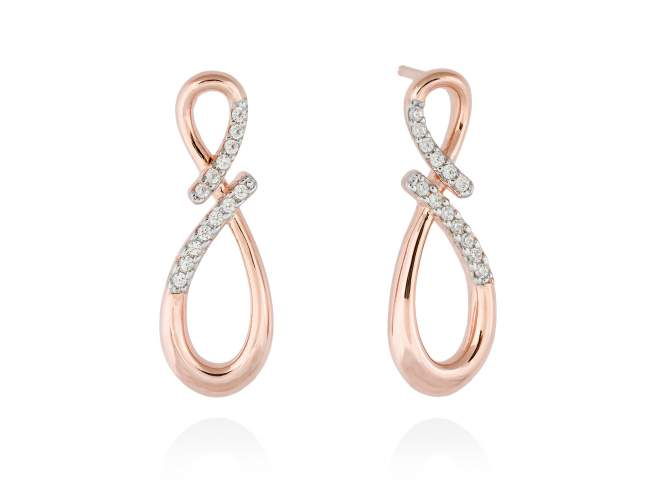 Earrings EIGHT White in rose silver de Marina Garcia Joyas en plata Earrings in 18kt rose gold plated 925 sterling silver with white cubic zirconia. (size: 2,9m.)