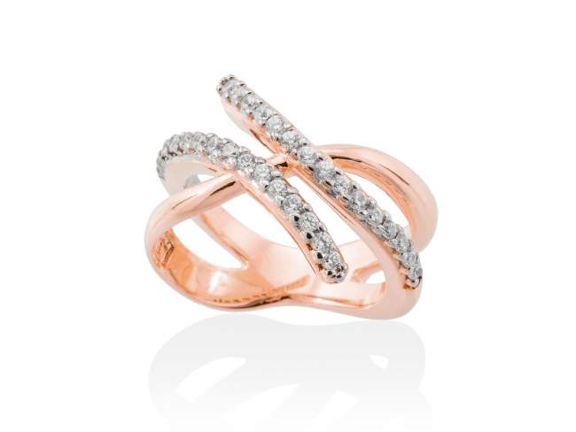 Ring EIGHT White in rose silver de Marina Garcia Joyas en plata Ring in 18kt rose gold plated 925 sterling silver and white cubic zirconia.