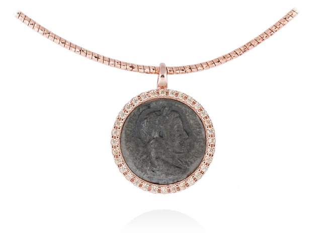 Pendant EMPIRE in rose silver de Marina Garcia Joyas en plata Pendant in 18kt rose gold and ruthenium plated 925 sterling silver and cognac cubic zirconia. (size: 2 cm.) (Chain is not included)