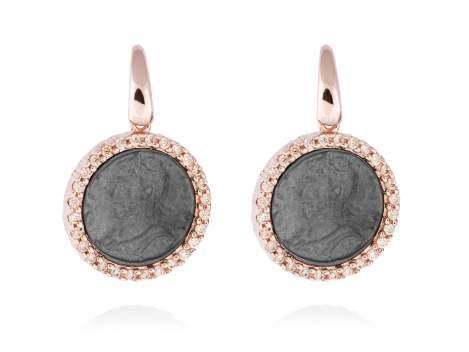 Pendientes EMPIRE en plata rosa