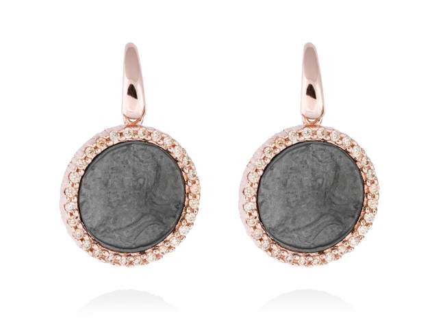 Earrings EMPIRE in rose silver de Marina Garcia Joyas en plata Earrings in 18kt rose gold and ruthenium plated 925 sterling silver and cognac cubic zirconia. (size: 2,7 cm.)