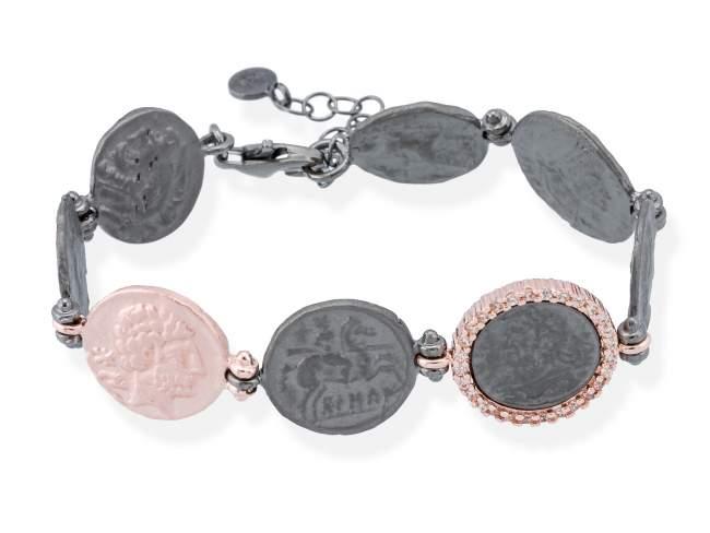Anillo EMPIRE en plata rosa de Marina Garcia Joyas en plata Anillo de plata de primera ley (925) con baño de rutenio y chapado en oro rosa de 18kt y circonita coñac. (medida de muñeca: 17,5+3 cm.)