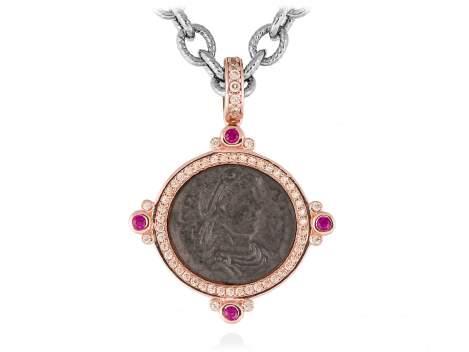 Pendant VECCHIO Fuchsia in rose silver