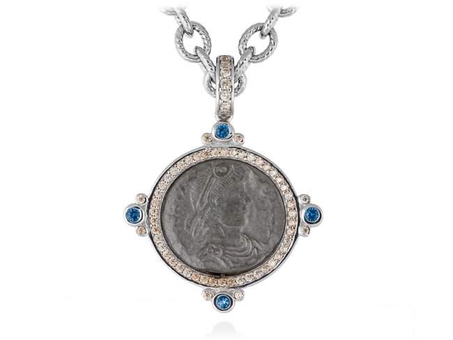 Colgante VECCHIO Azul en plata de Marina Garcia Joyas en plata Colgante de plata de primera ley (925) con baño de rodio y rutenio, circonita coñac y espinela azul sintética. (tamaño: 4,2 cm.) (Cadena no incluida)