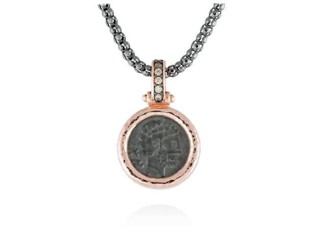 Colgante VESTA en plata rosa de Marina Garcia Joyas en plata Colgante de plata de primera ley (925) con baño de rutenio y chapado en oro rosa de 18kt y circonita coñac. (tamaño: 3 cm.) (Cadena no incluida)