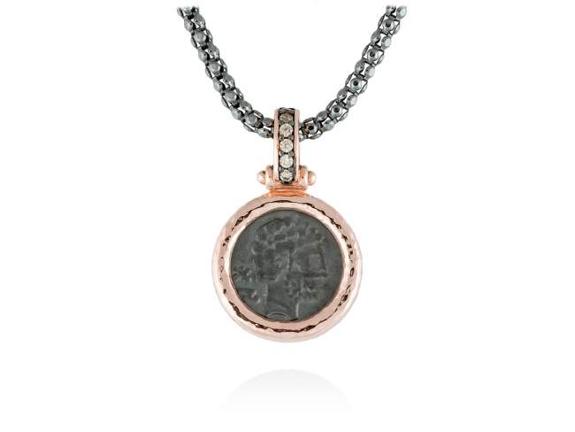 Pendant VESTA  in rose silver de Marina Garcia Joyas en plata Pendant in 18kt rose gold and ruthenium plated 925 sterling silver and cognac cubic zirconia. (size: 3 cm.)  (Chain is not included)