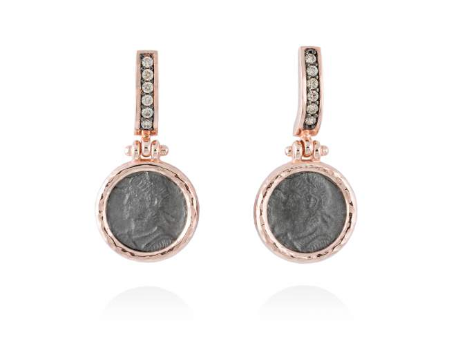 Pendientes VESTA en plata rosa de Marina Garcia Joyas en plata Pendientes de plata de primera ley (925) con baño de rutenio y chapado en oro rosa de 18kt con circonita coñac. (tamaño: 3,2 cm.)