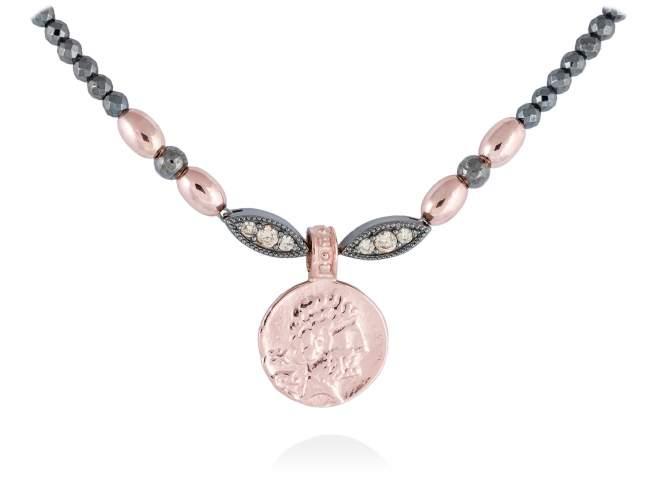 Gargantilla VENUS en plata rosa de Marina Garcia Joyas en plata Gargantilla de plata de primera ley (925) con baño de rutenio y chapado en oro rosa de 18kt con circonita coñac. (largo: 42+3 cm.)