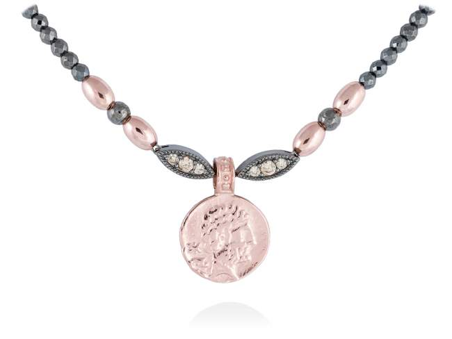 Necklace VENUS in rose silver de Marina Garcia Joyas en plata Necklace in 18kt rose gold and ruthenium plated 925 sterling silver with cognac cubic zirconia. (length: 42+3 cm.)