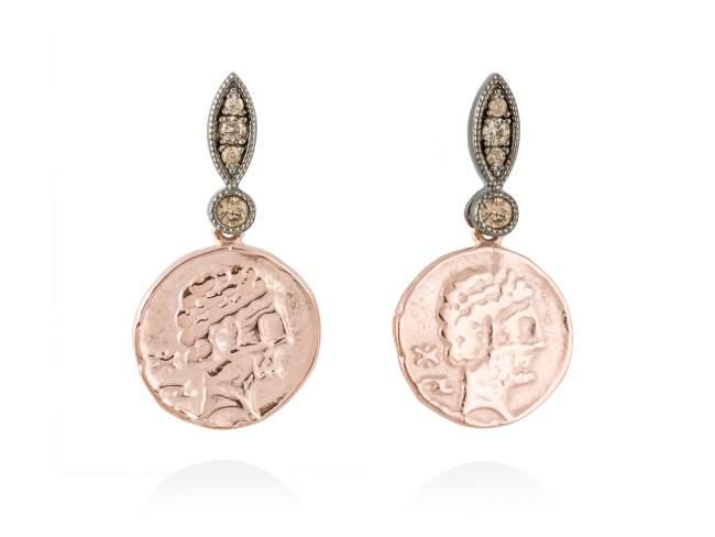 Pendientes VENUS en plata rosa de Marina Garcia Joyas en plata Pendientes de plata de primera ley (925) con baño de rutenio y chapado en oro rosa de 18kt con circonita coñac. (tamaño: 3 cm.)
