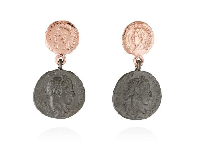 Pendientes MITO en plata rosa de Marina Garcia Joyas en plata Pendientes de plata de primera ley (925) con baño de rutenio y chapado en oro rosa de 18kt. (tamaño: 3 cm.)