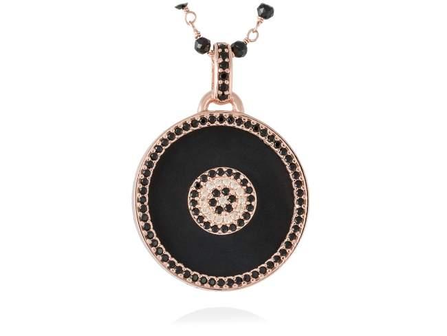 Colgante FULL MOON en plata rosa de Marina Garcia Joyas en plata Colgante de plata de primera ley (925) chapada en oro rosa de 18kt, espinela negra sintética, circonita coñac y ónix negro. (tamaño: 4 cm.) (Cadena no incluida)