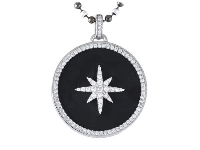 Pendant STELLA in silver de Marina Garcia Joyas en plata Pendant in rhodium plated 925 sterling silver, white cubic zirconia and black onyx. (size: 5 cm.) (Chain is not included)