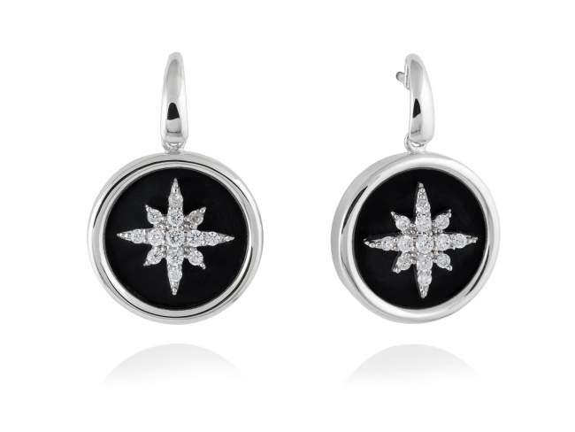 Earrings STELLA in silver de Marina Garcia Joyas en plata Earrings in rhodium plated 925 sterling silver, white cubic zirconia and black onyx. (size: 2,5 cm.)