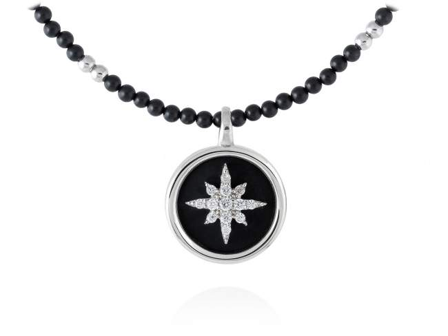 Necklace STELLA in silver de Marina Garcia Joyas en plata Necklace in rhodium plated 925 sterling silver, white cubic zirconia and black onyx. (length: 40+3 cm.)
