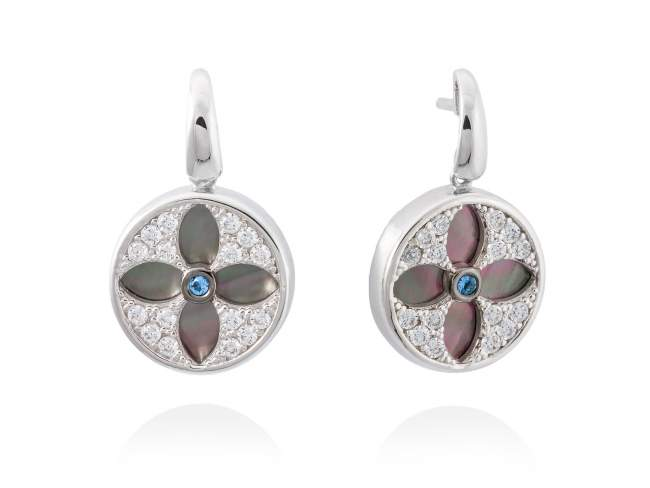 Earrings DUOMO Blue in silver de Marina Garcia Joyas en plata Earrings in rhodium plated 925 sterling silver, white cubic zirconia, synthetic blue spinel and black mother-of-pearl coin shape. (size: 2,5 cm.)