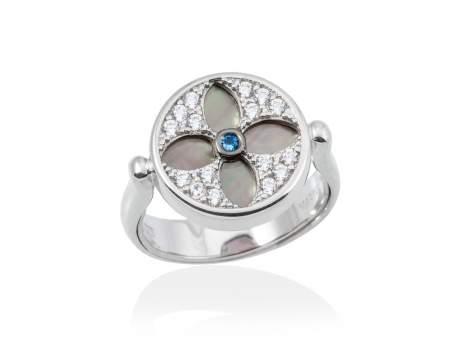 Anillo DUOMO Azul en plata