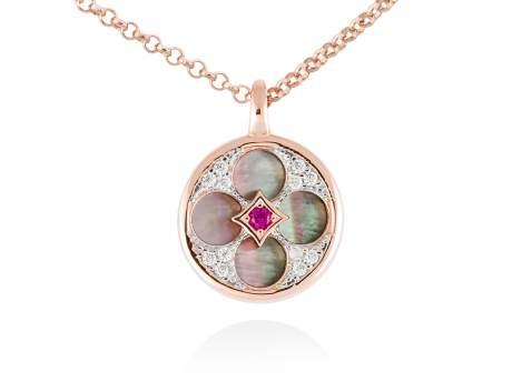 Necklace FIRENZE Fuchsia in rose silver