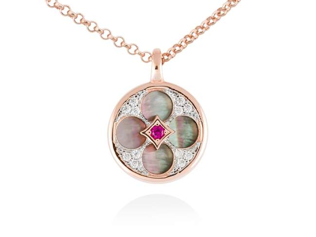 Necklace FIRENZE Fuchsia in rose silver de Marina Garcia Joyas en plata Necklace in 18kt rose gold plated 925 sterling silver, white cubic zirconia, synthetic fuchsia sapphire and black mother-of-pearl coin shape. (Length of necklace: 40+5 cm. Size of pendant: 1,5 cm.)