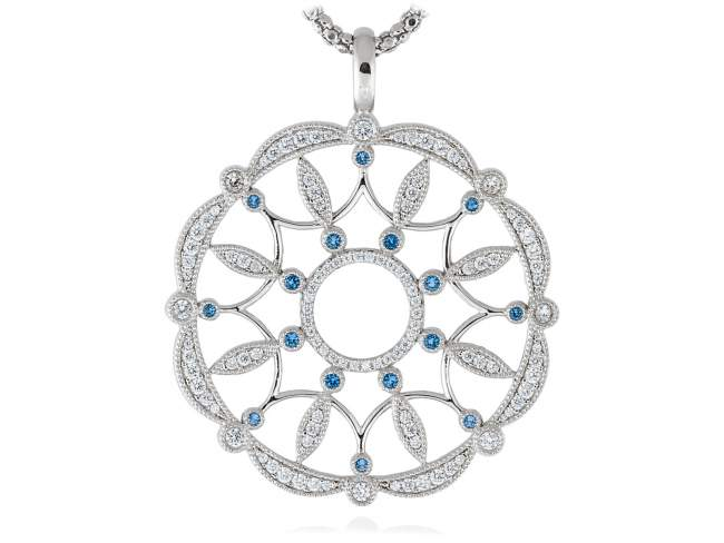 Pendant LAZE Blue in silver de Marina Garcia Joyas en plata Pendant in rhodium plated 925 sterling silver, white cubic zirconia and synthetic blue spinel. (size: 6,3 cm.) (Chain is not included)