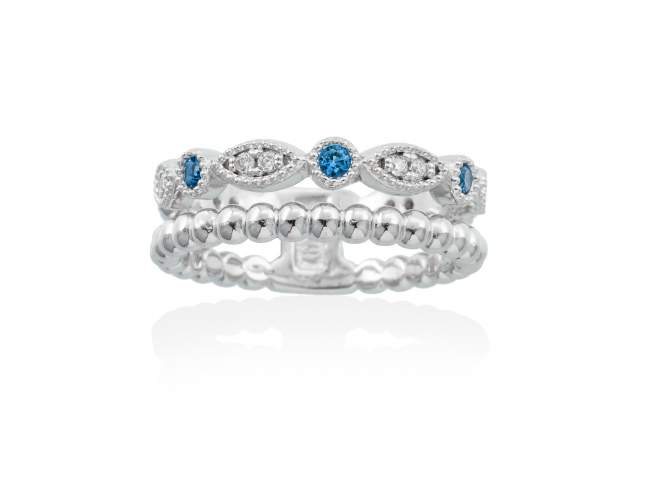 Ring NICE Blue in silver de Marina Garcia Joyas en plata Ring in rhodium plated 925 sterling silver, white cubic zirconia and synthetic blue spinel.