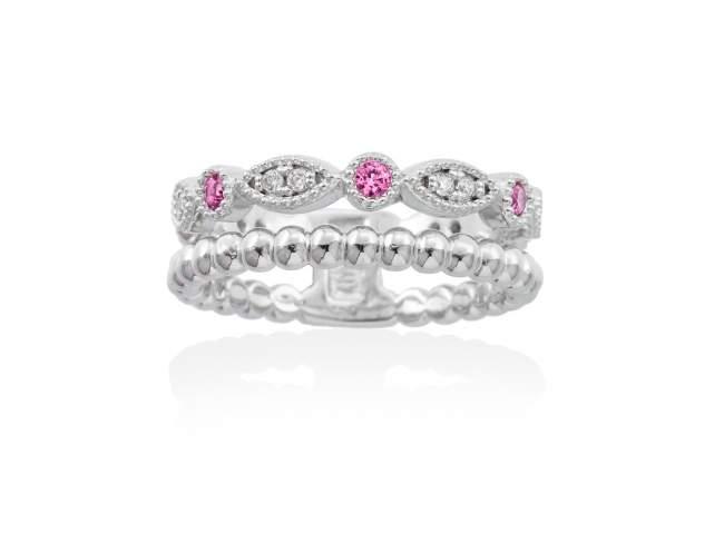 Ring NICE Rosa in silber de Marina Garcia Joyas en plata Ring in Silber (925) rhodiniert, Zirkonia weiß und Synthetischen Saphir rosa.