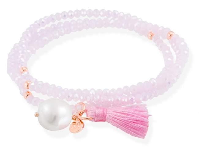 ZEN de Marina Garcia Joyas en plata Pulsera de plata de primera ley (925) chapada en oro rosa de 18kt con cristal de Strass facetado color rosa y perla cultivada. (largo: 51 cm.)