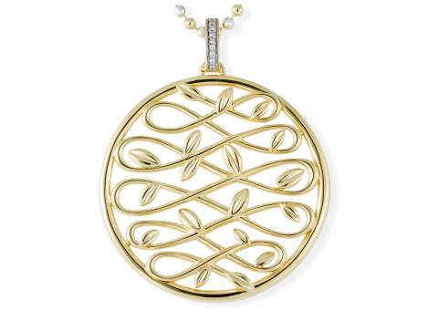 Pendant LAUREL in golden silver