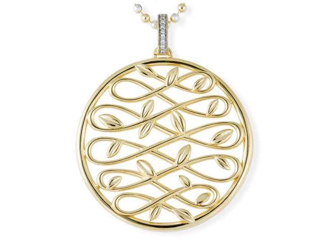 Pendant LAUREL in golden silver de Marina Garcia Joyas en plata Pendant in 18kt yellow gold plated 925 sterling silver and white cubic zirconia. (size: 7 cm.) (Chain is not included)