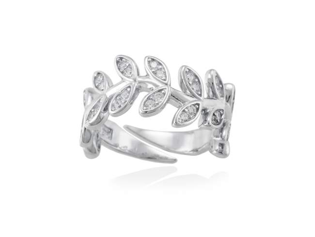 Ring LAUREL in silver de Marina Garcia Joyas en plata Ring in rhodium plated 925 sterling silver and white cubic zirconia.