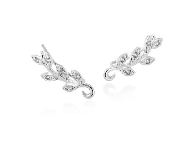 Earrings LAUREL in silver de Marina Garcia Joyas en plata Earrings in rhodium plated 925 sterling silver with white cubic zirconia. (size: 2,2 cm.)
