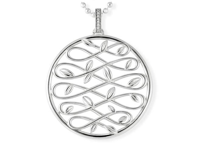 Pendant LAUREL in silver de Marina Garcia Joyas en plata Pendant in rhodium plated 925 sterling silver and white cubic zirconia. (size: 7 cm.) (Chain is not included)
