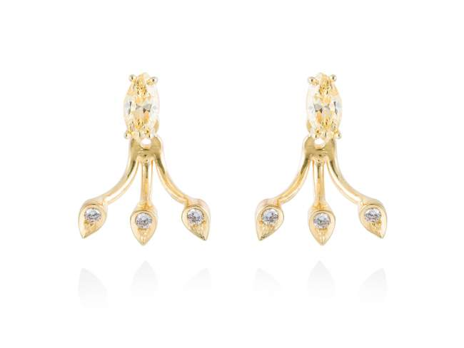 Earrings HIEDRA in golden silver de Marina Garcia Joyas en plata Earrings in 18kt yellow gold plated 925 sterling silver with white cubic zirconia and yellow cubic zirconia. (size: 2 cm.)