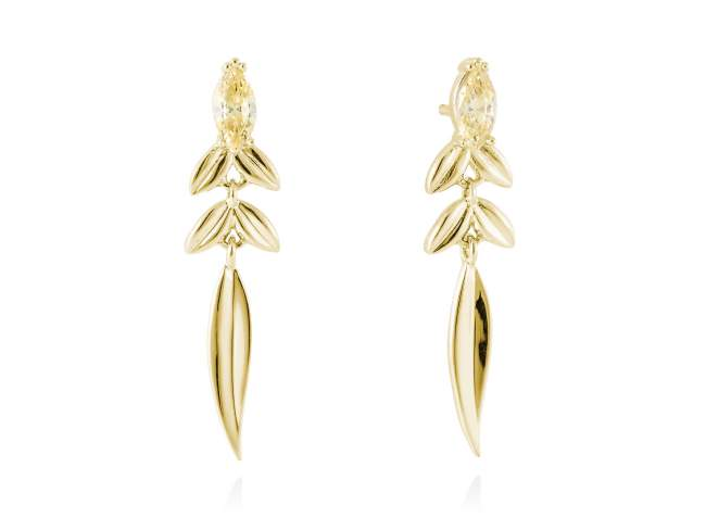 Earrings SAUCE in golden silver de Marina Garcia Joyas en plata Earrings in 18kt yellow gold plated 925 sterling silver with yellow cubic zirconia. (size: 3,8 cm.)