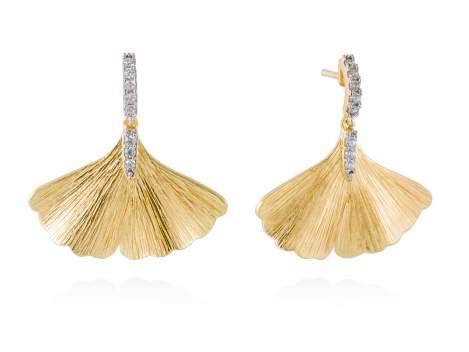 Earrings FALL White in golden silver