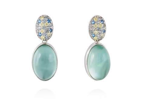 Earrings HIDRA Green in silver