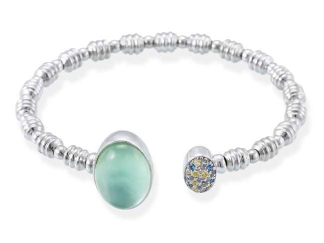 Bracelet HIDRA Green in silver de Marina Garcia Joyas en plata Bracelet in rhodium plated 925 sterling silver, multicolor cubic zirconia, mother of pearl, green agate and quartz doublet.