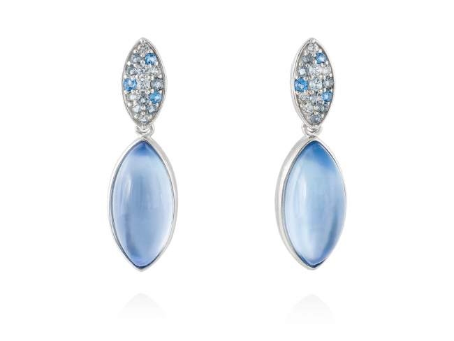 Earrings HIDRA Blue in silver de Marina Garcia Joyas en plata Earrings in rhodium plated 925 sterling silver, multicolor cubic zirconia, mother of pearl and synthetic blue saphire doublet. (size: 2,7 cm.)