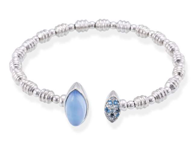 Bracelet HIDRA Blue in silver de Marina Garcia Joyas en plata Bracelet in rhodium plated 925 sterling silver, multicolor cubic zirconia, mother of pearl and synthetic blue saphire doublet.