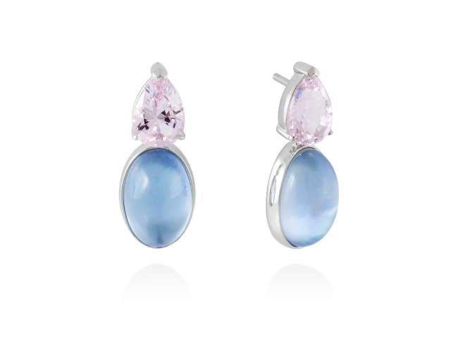 Earrings LAKE Blue in silver de Marina Garcia Joyas en plata Earrings in rhodium plated 925 sterling silver, synthetic stone water pink and mother of pearl and synthetic blue saphire doublet. (size: 2,5 cm.)