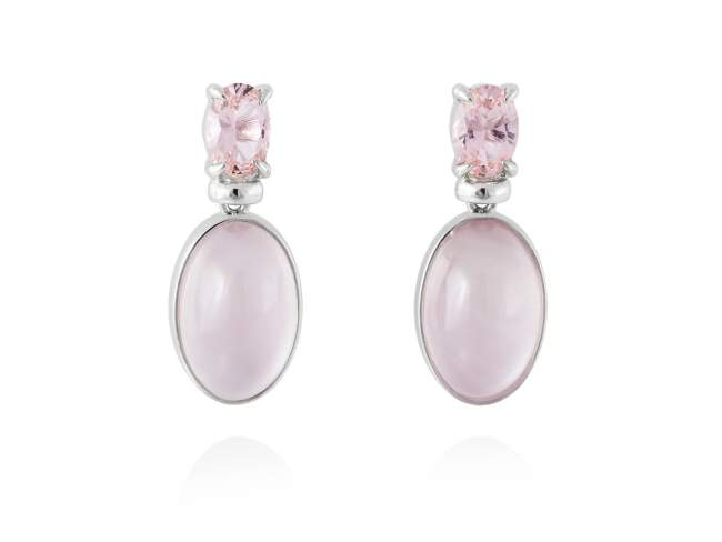 Earrings LAKE Pink in silver de Marina Garcia Joyas en plata Earrings in rhodium plated 925 sterling silver, synthetic stone in pink color and mother of pearl and synthetic pink saphire doublet. (size: 2,5 cm.)