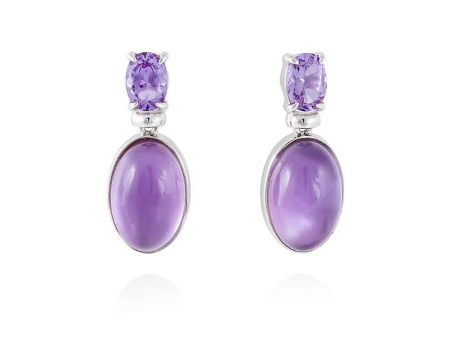 Earrings LAKE Purple in silver de Marina Garcia Joyas en plata Earrings in rhodium plated 925 sterling silver, synthetic stone in lavender color and mother of pearl and amethyst doublet. (size: 2,5 cm.)