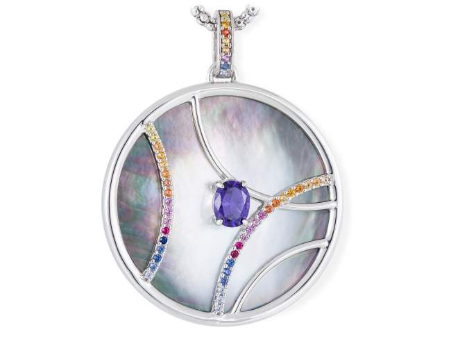 Pendant LIDO Blue in silver de Marina Garcia Joyas en plata Pendant in rhodium plated 925 sterling silver, multicolor cubic zirconia, synthetic stone in blue color and black mother-of-pearl coin shape. (size: 6 cm.) (Chain is not included)