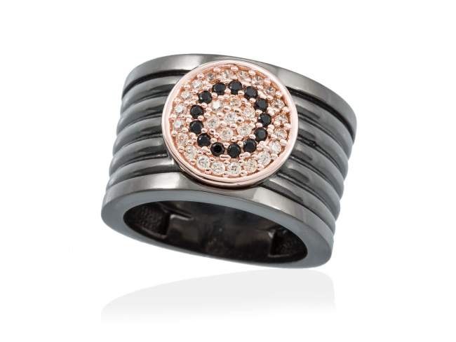 Ring FULL MOON in black silver de Marina Garcia Joyas en plata Ring in 18kt rose gold and ruthenium plated 925 sterling silver, cognac cubic zirconia and synthetic black spinel.