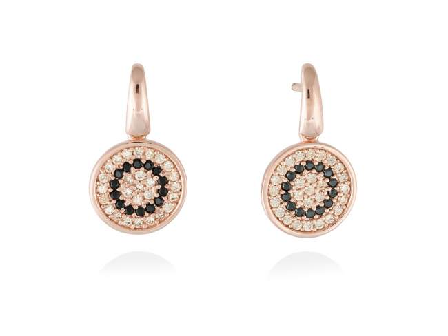 Earrings FULL MOON in rose silver de Marina Garcia Joyas en plata Earrings in 18kt rose gold plated 925 sterling silver, cognac cubic zirconia and synthetic black spinel. (size: 2,2 cm.)