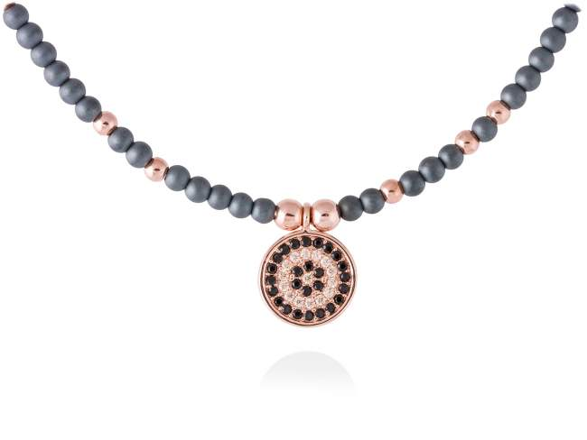 Necklace FULL MOON in rose silver de Marina Garcia Joyas en plata Necklace in 18kt rose gold plated 925 sterling silver, cognac cubic zirconia, synthetic black spinel and hematite. (length: 42+3 cm.)