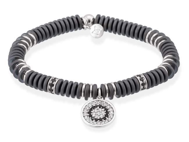 Bracelet FULL MOON in silver de Marina Garcia Joyas en plata Bracelet in rhodium plated 925 sterling silver, white cubic zirconia, synthetic black spinel and hematite. (wrist size: 16,5 cm.)