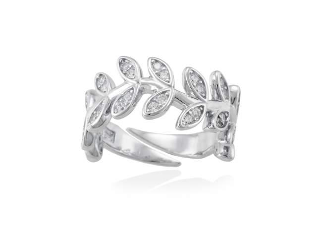 Ring LAUREL in silver de Marina Garcia Joyas en plata Ring in rhodium plated 925 sterling silver and white cubic zirconia.
