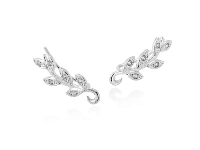 Earrings LAUREL in silver de Marina Garcia Joyas en plata Earrings in rhodium plated 925 sterling silver with white cubic zirconia. (size: 2,2 cm.)